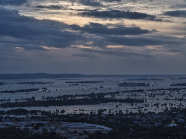 Sunset view of the Ayeyarwady from Mandalay hill